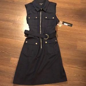 NWT Sharagano Sleeveless Belted Shirt Dress 16